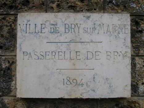 Passerelle Bry sur MarnePlaque