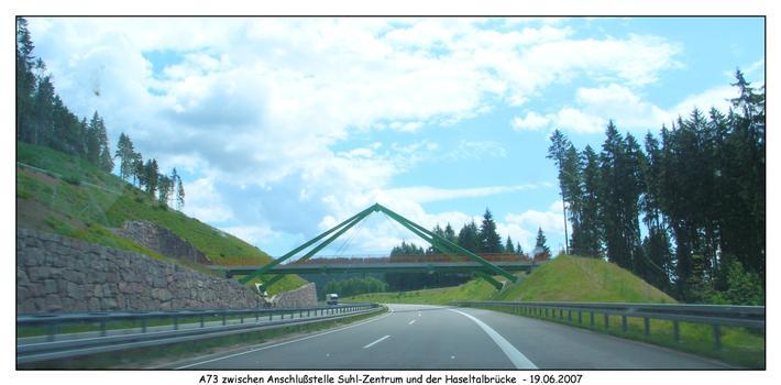 Autobahn A73 - zwischen der Haseltalbrücke und der Anschlußstelle Suhl