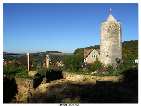 Burg Camburg - vorn die Ausgrabungsstelle auf dem Matzberg