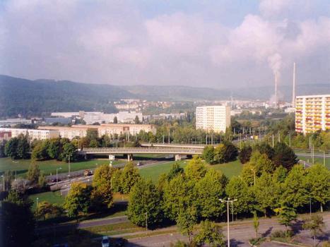 Jena: Bridges across the expressway Stadrodaer Strasse. Road bridge in front, tramway bridge in back.