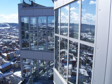 Intershoptower. Oberster Stock - hier ist das Turmrestaurant «Scala» untergebracht