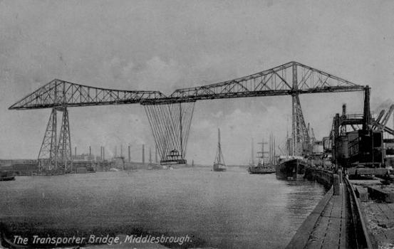 Middlesbrough Transporter Bridge Source: Postcard from the private collection of Edy Pockelé.