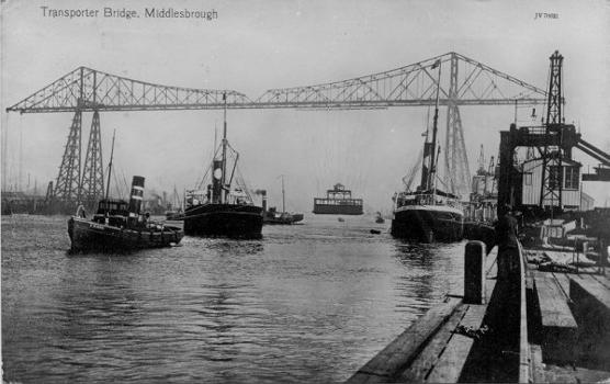 Middlesbrough Transporter Bridge Source: Postcard from the private collection of Edy Pockelé