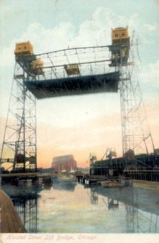Halsted Street Lift Bridge, Chicago, Illinois. Source: Postcard from the private collection of Edy Pockelé