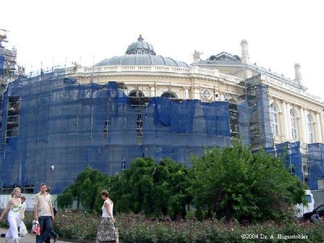 Ukraine, Odessa, Theater für Oper and Ballett. Gebaut 1884-1887 im Wiener Neo-Renaissance. Architekten Hellmer und Fellmer, Platz für 1560 Zuschauer, Nach ihrer Erbauung 1884 - 1887 war sie nach der Mailänder Scala das zweitgrößte Opernhaus der Welt