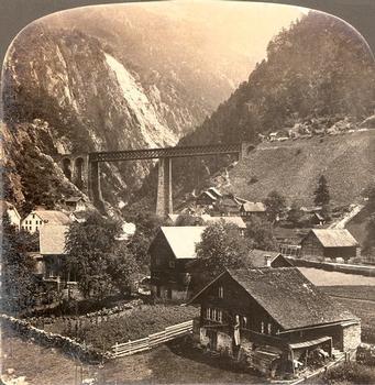 Bridge on the Gotthard Line, Amsteg — Stereoscopic view around 1900