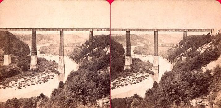 Grand Fey Viaduct. Stereoscopic view around 1900 From the collection of the Stéréo-Club Français.