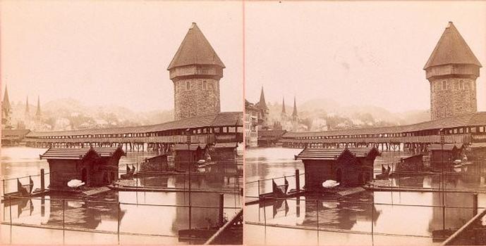 Kapellbrücke, Luzern. Stereoskopische Ansicht um 1900 Aus der Sammlung des Stéréo-Club Français.