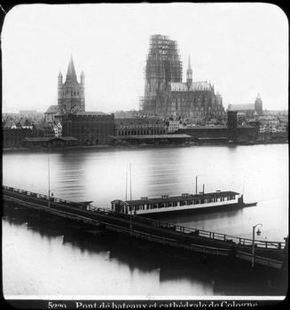 Deutz Ship Bridge & Cathedral of Cologne — Stereoscopic view around 1900