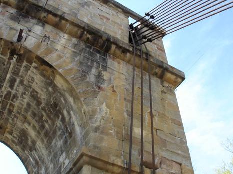 Pont suspendu de Parentignat. Suspension en barres articulées. Haubans en câbles d'acier ajoutés par Arnodin