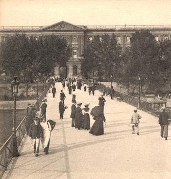 Pont des Arts. Stereoskopische Ansicht um 1900. Aus der Sammlung des Stéréo-Club Français.