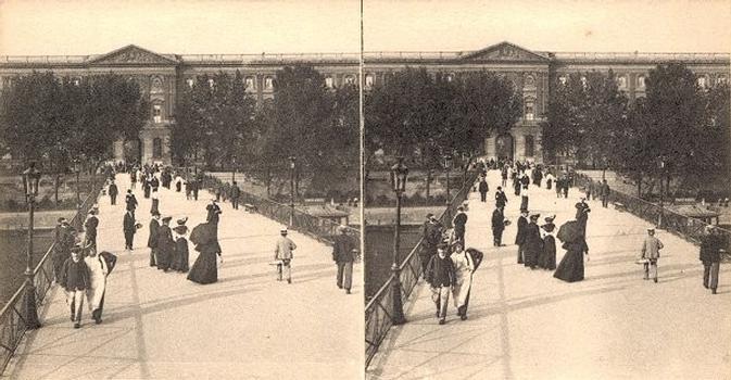 Pont des Arts. Vue stéréoscopique, vers 1900.