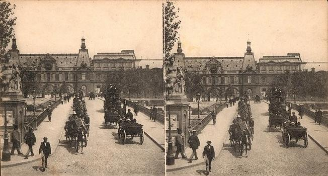 Pont du Carrousel (ou Pont des Saints-Pères). Vue stéréoscopique, vers 1900. Collection du Stéréo-Club Français