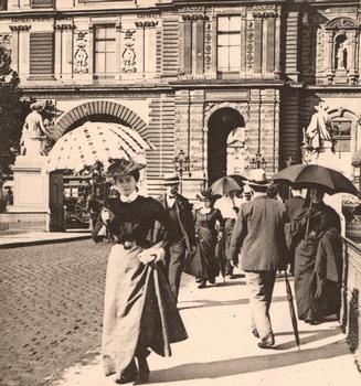 Pont du Carrousel (ou Pont des Saints-Pères). Vue stéréoscopique, vers 1900.