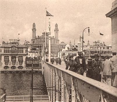 Exposition 1900: Pont d'Iéna. Palais du Trocadéro. Vue stéréoscopique.