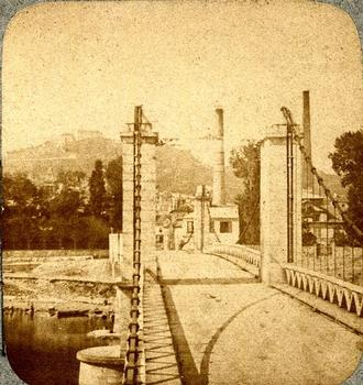 Suresnes suspension bridge — Stereoscopic view around 1870