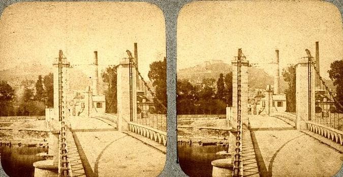 Hängebrücke Suresnes — Stereoskopische Ansicht um 1870