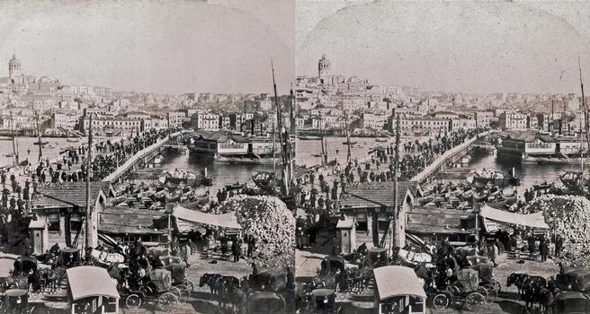 Galata Bridge — Stereoscopic view dated 1899