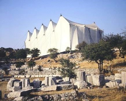 Temple d'Apollon Epikouros (Bassae), sous sa tente de protection