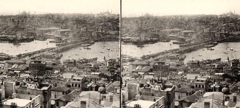 Pont de Galata, Istanbul. Vue stéréoscopique, vers 1900. Collection du Stéréo-Club Français.
