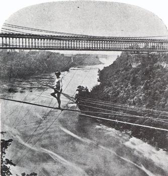Jean-François Blondin crosses the Niagara Falls Stereoscopic view From the collection of the Stéréo-Club Français.