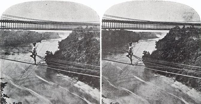 Jean François Blondin crosses the Niagara Falls Stereoscopic view From the collection of the Stéréo-Club Français.