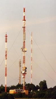 UKW- und Richtfunkmast Würzburg. Links ist der Hilfsmast der Telekom-Richtfunkstelle Würzburg-Frankenwarte zu sehen, dann folgen (von links nach rechts) der Mobilfunkturm Würzburg-Frankenwarte, der UKW- und Richtfunkmast Würzburg und der Sendemast des Bayerischen Rundfunks