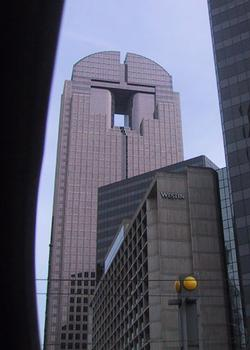 Approaching JP Morgan Chase Tower on street.