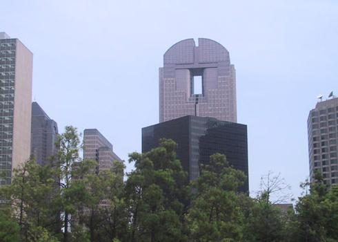 JP Morgan Chase Tower from SE, showing 'Keyhole.'