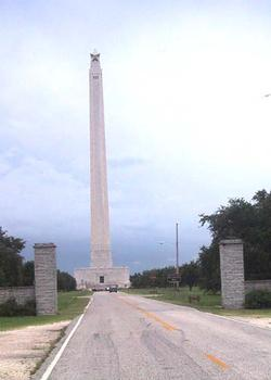 San Jacinto Monument from East gate of park
