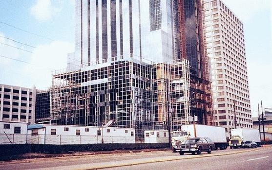 Williams Tower, Houston.  Base of the building while still under construction