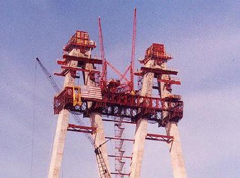 Fred Hartman Bridge under construction Tower detail