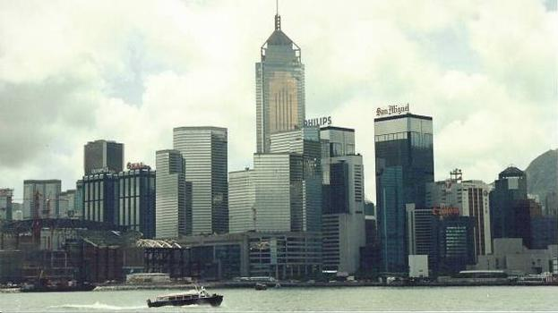 Hong Kong Skyline with Central Plaza dominating.