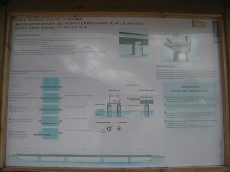panneau explicatif sur le viaduc actuel et sa reconstruction