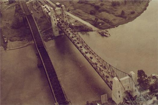 Opening ceremony.Aerial Photograph with ferry to the right.