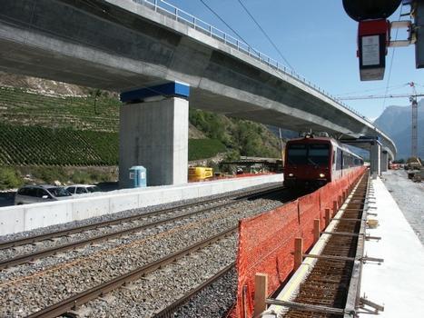 Lötschberg Alpentransversale, Basistunnel und Brücke über die Rhone in Raron