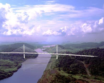 Puente Centenario, deuxième franchissement du canal de Panama.  Simulation: Dave Desroches  Image utilisée avec l'aimable permission de Miguel Rosales