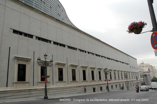 MADRID – «Congreso de los Diputados» ou «Palacio de las Cortes», siège du Parlement espagnol. Achèvement de la construction en 1850, pour le bâtiment à façade néo-classique