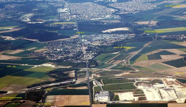 Claye-Souilly - TGV East/Europe und construction with Ourcq Canal crossing and interchange with the TGV-bypass of Paris.