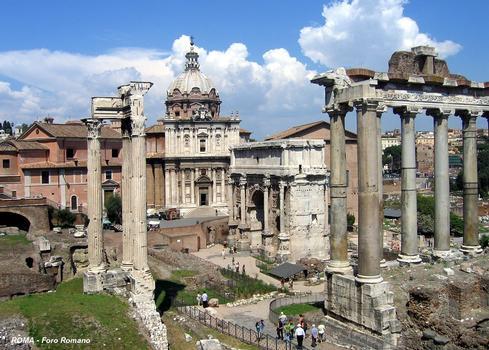 Rom - Forum Romanum - Tempel des Vespasian & Triumphbogen des Septimus Severus & Tempel des Saturn