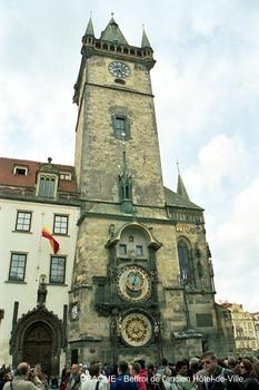 Belfry of the City Hall in the historic center of Prague.