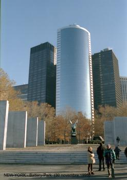 East Coast Memorial at Battery Park with 17 State Street in the background.