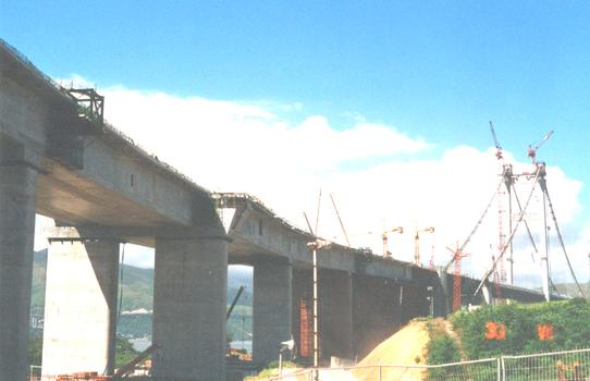 Lantau Link, Hong Kong. Ma Wan Viaduct prior to construction of slip roads
