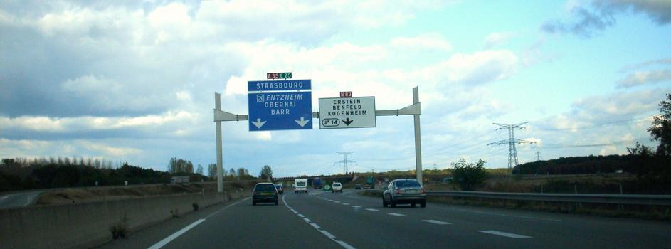 Autoroute A 35 au nord de Sélestat, direction Strasbourg