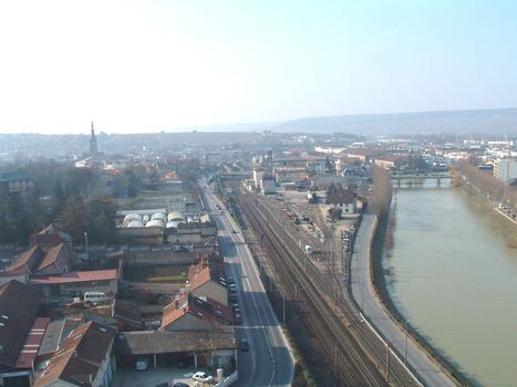 Eisenbahnlinie Paris-Nancy in Epernay - Sicht in Fahrtrichtung Paris