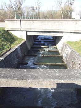 Barrage de Kembs sur le Rhin: Echelle à poissons.