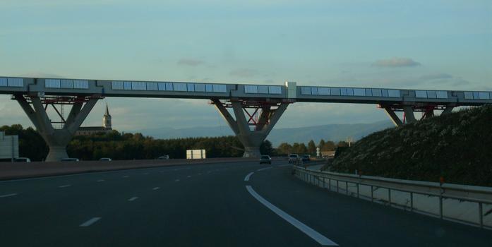 LGV Rhin-Rhône: Viaduc de la Savoureuse depuis l'autoroute A 36 sens Mombéliard-Belfort