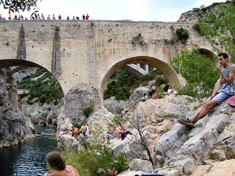 Saint-Jean-de-Fos - Pont du Diable vu de l'aval