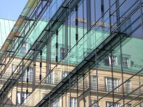 Reflection of the Adlon Hotel in the fassade of the Academy of Arts in Berlin
