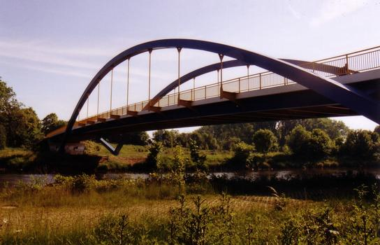 Nienburg Bridge crossing the Saale River.